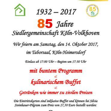 85 Jahr Feier – Siedlergemeinschaft Köln-Volkhoven e.V.