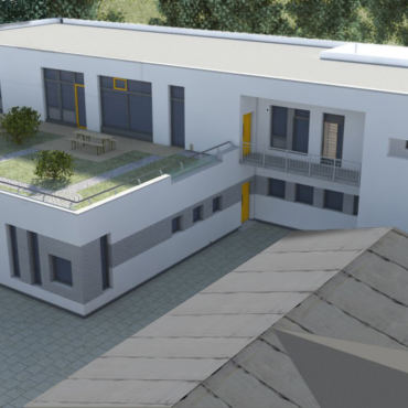 Der neue katholische Kindergarten wächst und der Taborplatz wird neugestaltet